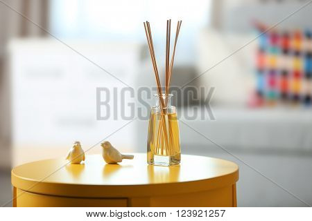 Handmade reed freshener in living room, close up