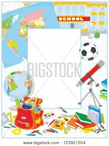School vector border frame with a globe, a schoolbag and other educational items