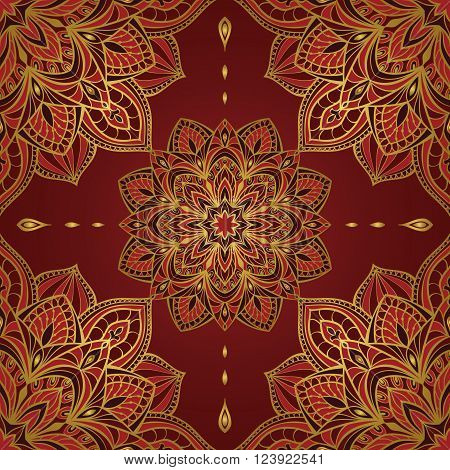 Seamless oriental pattern of mandalas on a dark red background. Vector elegant ornament. Stylized template for embroidery shawl tapestry carpetwrapping textile.