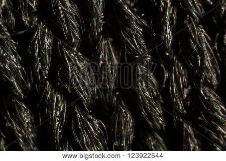 Black Nylon Mesh Cloth Fibers Under The Microscope