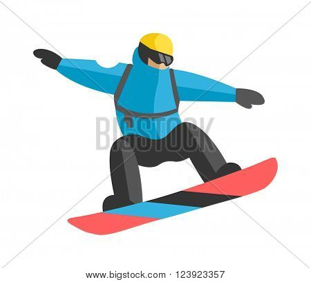 Participating freestyle snowboarder jump competition skiers and snowboarder jump extreme sport. Snowboarder mountain jump. Freestyle snowboarder jumping from top of peak mountain covered clouds vector
