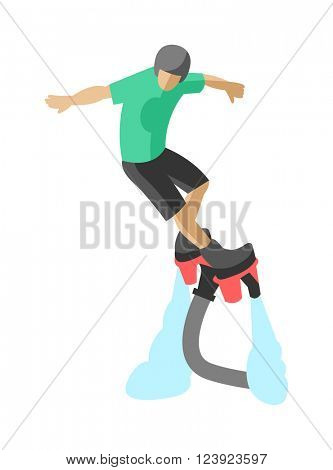 Man flyboard in action summer hobby outdoor water sport flyboard. Flyboard fun extreme hobby watersport. New spectacular extreme sport flyboard summer action splash active acrobatic man flat vector.