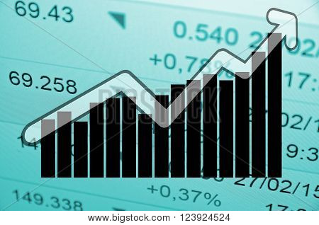 Financial concept up trend arrow in front of uptrend bar chart.