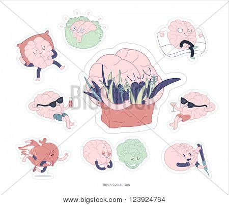 Brain sticker feed and leisure printable set, cartoon vector isolated images with cutting path, a part of Brain collection