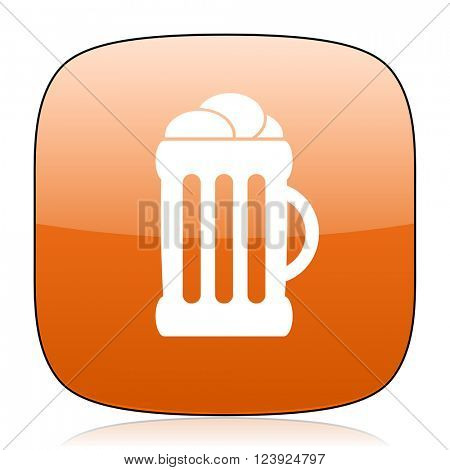 beer orange square glossy web icon