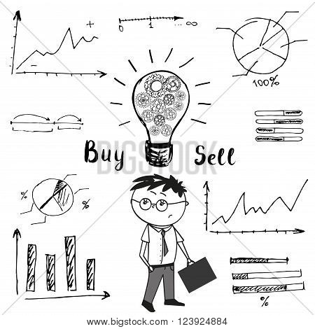 Businessman and doodle graphs and charts. The idea of the concept of buying and selling. Vector Illustration