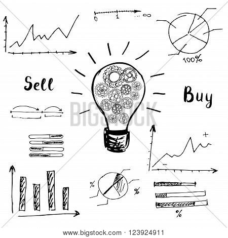 Doodle graphs and charts. The idea of the concept of buying and selling. Vector Illustration