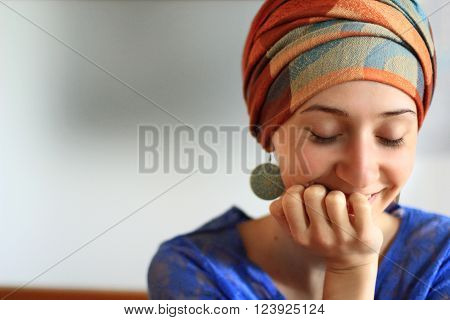 woman in fashionable turban smile laugh summer