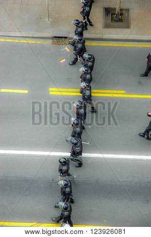 BELGRADE SERBIA - SEPTEMBER 20 2015: police cordon on the street in Gay Pride Parade in Belgrade Serbia.