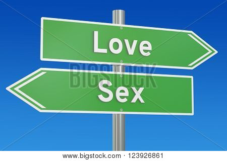 love or sex concept on the signpost 3D rendering
