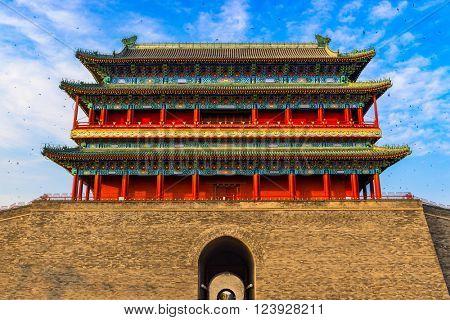 Beijing, China at the Zhengyangmen Gatehouse in Tiananmen Square.