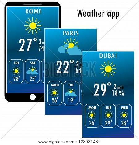 Modern smartphone with weather app on the screen. Flat design template for mobile apps Vector illustration.