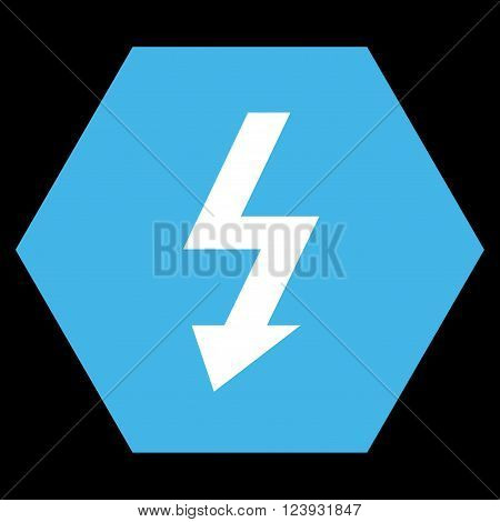 High Voltage vector icon. Image style is bicolor flat high voltage iconic symbol drawn on a hexagon with blue and white colors.