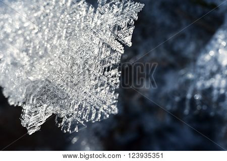 Snow and ice crystal closeup. Winter snowflake background.