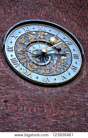 Close-up of clock on Townhall in Oslo, Norway. January 04, 2013