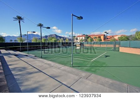 Tennis court in an active adult community in the Coachella Valley. poster