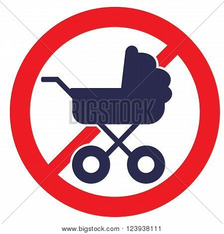 No Baby Carriage Sign. Vector illustration. Stock vector template, easy to use.