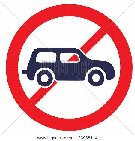 No cars. Road Sign prohibiting thoroughfare for all motor vehicles.
