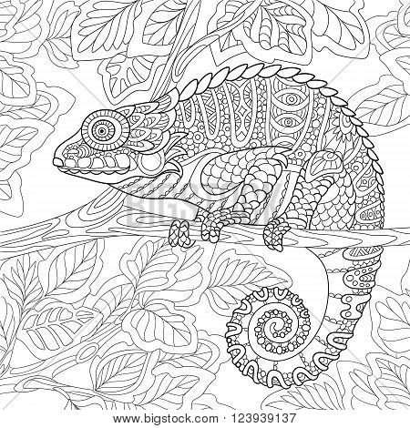Zentangle stylized cartoon chameleon sitting on a tree branch. Hand drawn sketch for adult antistress coloring page T-shirt emblem logo or tattoo with doodle zentangle floral design elements.