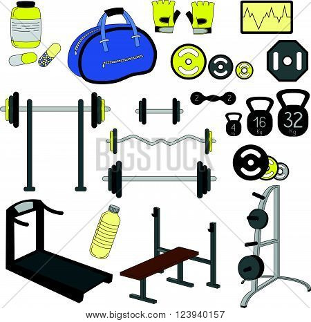 Fitness sport gym exercise equipment workout set illustration for colorful template