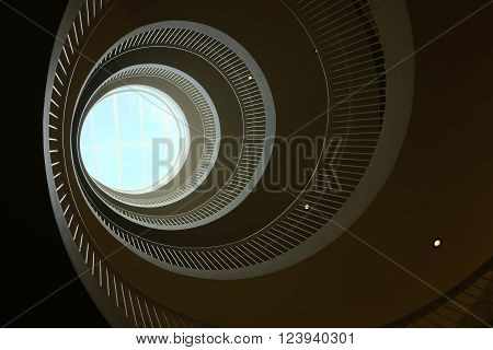 bottom view of a spiral staircase, horizontal