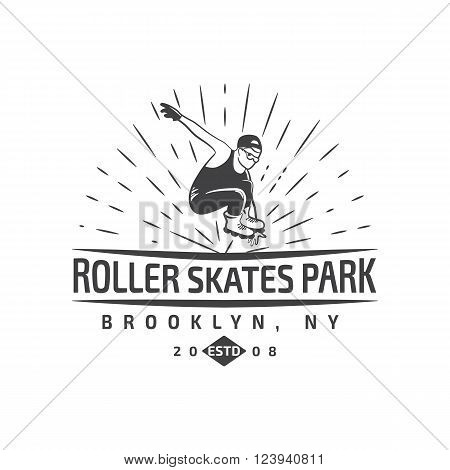 Vector of roller skating label, badge and design elements isolated on a white backgrounf with a man