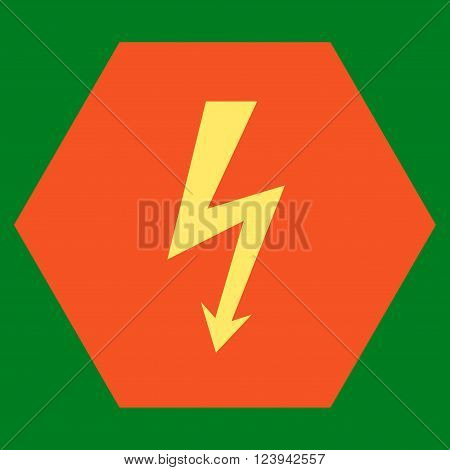 High Voltage vector icon symbol. Image style is bicolor flat high voltage pictogram symbol drawn on a hexagon with orange and yellow colors.