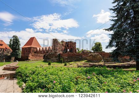 TORUN, POLAND - JULY 7, 2009: Ruins of a teutonic order knights castle. Its only preserved element is the Gdanisko tower used in the past as a lavatory