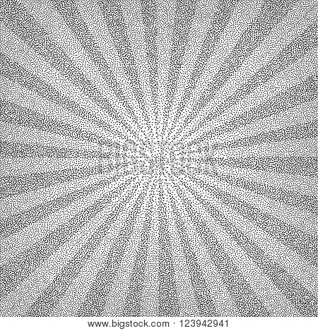Sun Sunburst Pattern Made Of Stipples