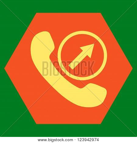 Outgoing Call vector icon. Image style is bicolor flat outgoing call iconic symbol drawn on a hexagon with orange and yellow colors.