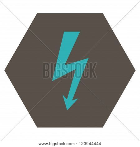 High Voltage vector icon. Image style is bicolor flat high voltage pictogram symbol drawn on a hexagon with grey and cyan colors.