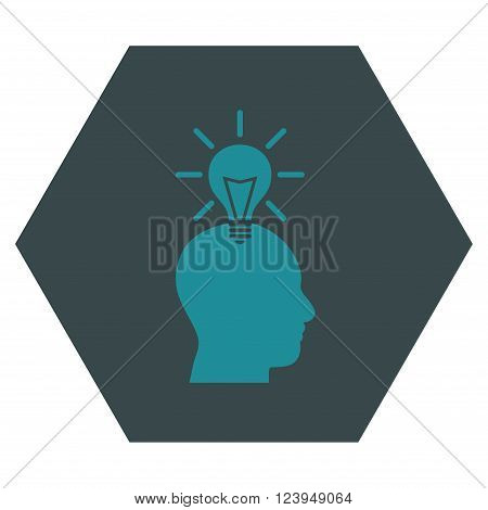 Genius Bulb vector icon. Image style is bicolor flat genius bulb pictogram symbol drawn on a hexagon with soft blue colors.