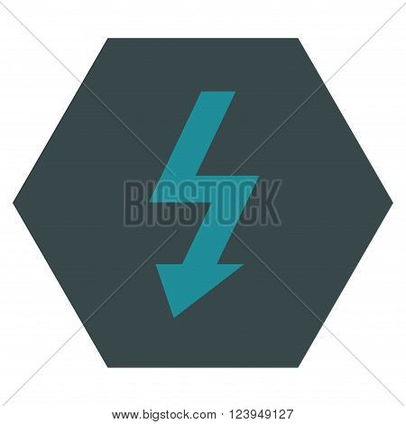 High Voltage vector icon. Image style is bicolor flat high voltage iconic symbol drawn on a hexagon with soft blue colors.