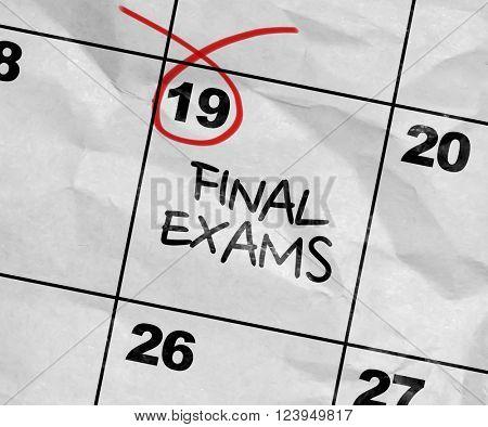 Concept image of a Calendar with the text: Final Exams