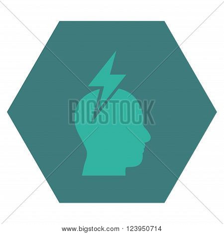 Headache vector symbol. Image style is bicolor flat headache icon symbol drawn on a hexagon with cobalt and cyan colors.