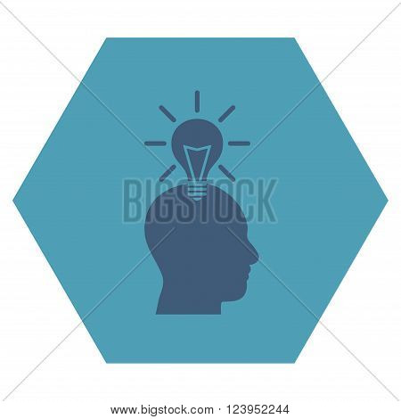 Genius Bulb vector icon symbol. Image style is bicolor flat genius bulb pictogram symbol drawn on a hexagon with cyan and blue colors.