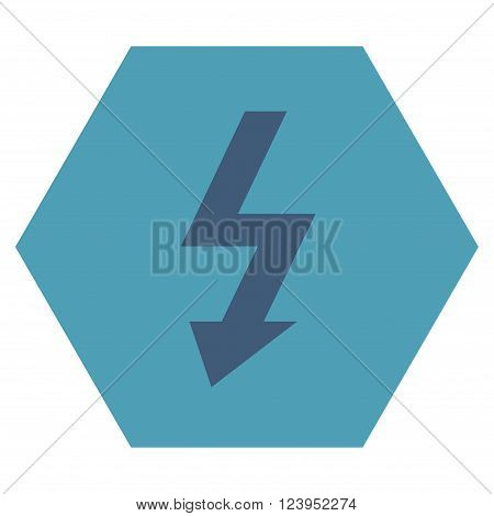 High Voltage vector pictogram. Image style is bicolor flat high voltage icon symbol drawn on a hexagon with cyan and blue colors.
