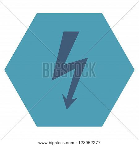 High Voltage vector icon. Image style is bicolor flat high voltage icon symbol drawn on a hexagon with cyan and blue colors.