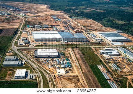 Industrial estate land development aerial photography view