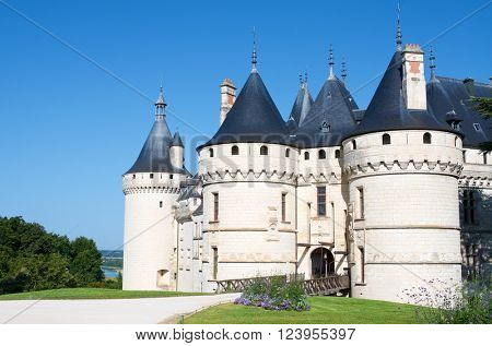 Entrance to the castle of Chaumont Sur Loire, Loire Valley, France. Originally built in the 10th century, has undergone multiple renovations until reaching its present appearance.