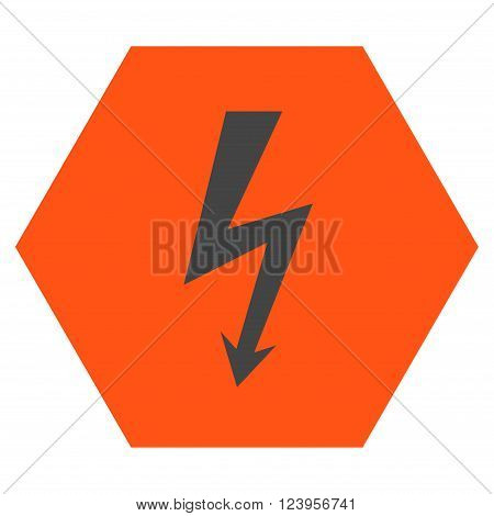 High Voltage vector icon. Image style is bicolor flat high voltage iconic symbol drawn on a hexagon with orange and gray colors.