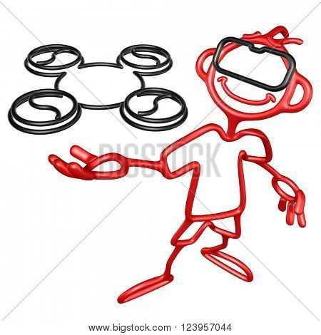 Doodle GuyZ With Aerial Drone 3D Illustration