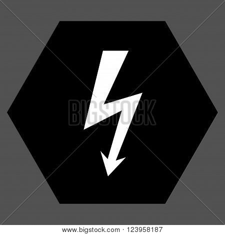 High Voltage vector pictogram. Image style is bicolor flat high voltage iconic symbol drawn on a hexagon with black and white colors.