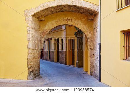 Valencia Portal de Valldigna arch in barrio del Carmen at Spain