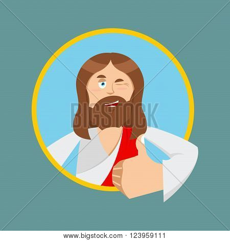 Jesus hands shows thumbs up. Son of God. Signs all right. Thumbs up. Hand showing ok. Gesture of hand. Jesus Christ of Bible character. Biblical man