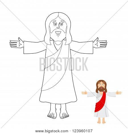 Jesus Coloring Book. Jesus Christ Drawing For Children. Linear Biblical People. Son Of God Of Christ