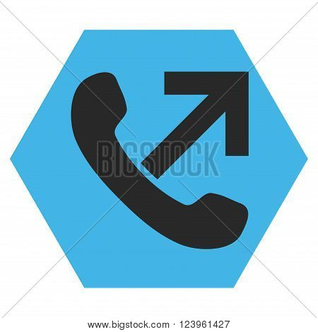 Outgoing Call vector pictogram. Image style is bicolor flat outgoing call pictogram symbol drawn on a hexagon with blue and gray colors.