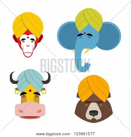 Sacred Animals In Turban. Sacred Indian Elephant Meditating. Sacred Indian Cow. Sacred Indian Monkey