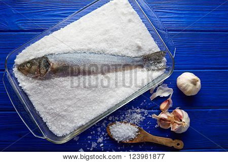 Seabass baked in sea salt seabass crusted from Mediterranean lubina