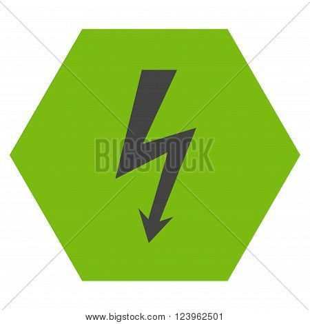 High Voltage vector icon. Image style is bicolor flat high voltage icon symbol drawn on a hexagon with eco green and gray colors.